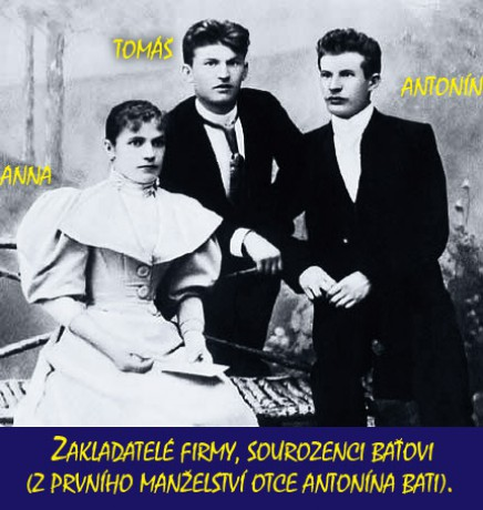 Sourozenci Baťovi, Anna, Tomáš a Antonín.