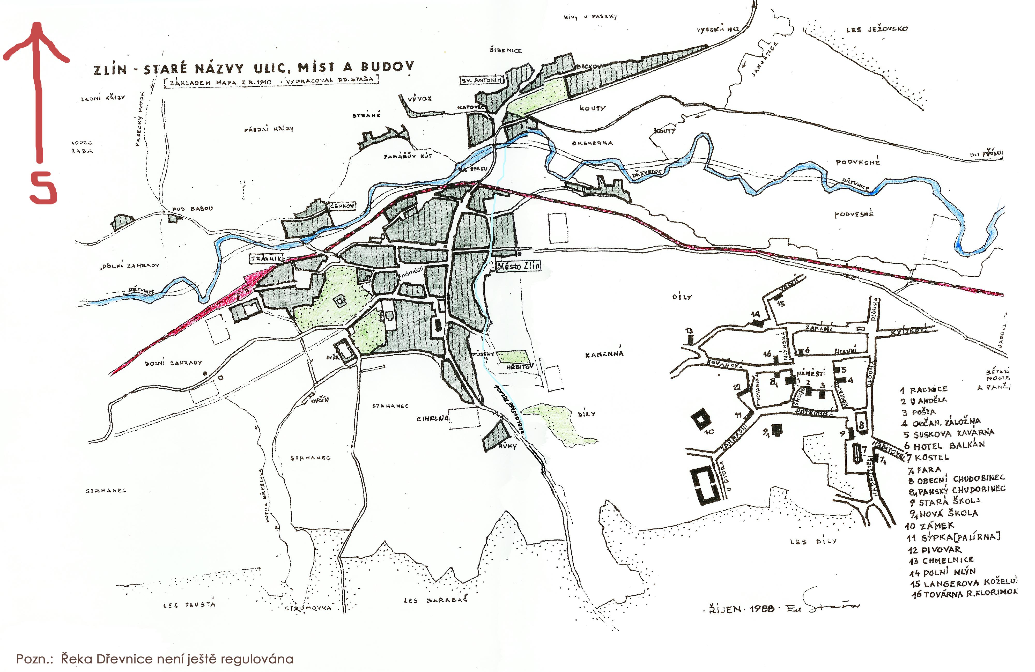 zz - mapa města a okolí 1910